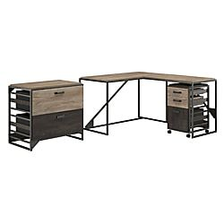 Bush Furniture Refinery 50 W L Shaped Industrial Desk With 37 W Return And File Cabinets Rustic Gray Charred Wood Standard Delivery Item 290288 Bush Furniture Desk Filing Cabinet