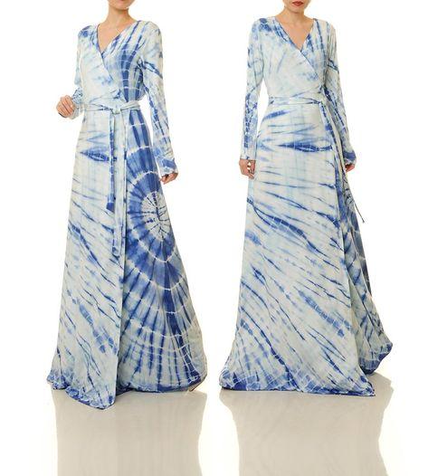 Shibori Maxi Dress   Tie Dye Wrap Dress Long Sleeve   Boho Maxi Dress Long Sleeve   Kimono Wrap Dress   Tie Dye Dress   Indigo Dress 6546 by Tailored2Modesty on Etsy