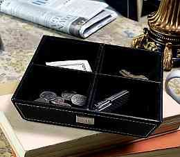 """<p>Organization meets style with this masculine """"Catch All"""" Tray.   Perfect near the back door, in an office or anywhere clutter can  collect, this compartmented tray is great for keeping all your important  pocket equipment gathered. Crafted of black leatherette with white  stitching, this catch all is lined in black velveteen. </p>      <p>Details: <br />    Size: Measures 7 1/2"""" by 7 1/2"""" by 1 1/2 inches deep. <br />    Materials: Leatherette and velveteen</p>..."""