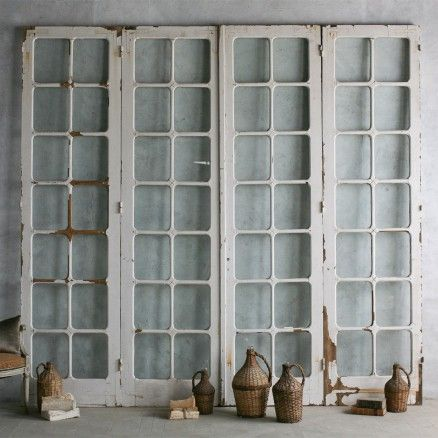4 Set Of Antique Glass Panelled Doors In Weathered And Chipping