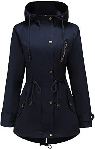 Hurrg Mens Coat Trech Mid Long Length Hoodies Windproof Drawstring Outwear Jackets