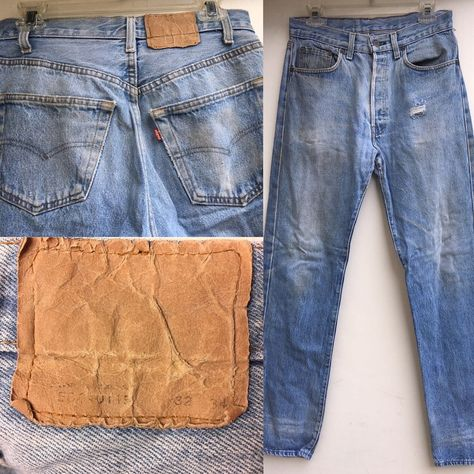 30ff8bb961c VTG Levi's Button Fly Jeans 501-0115 32 (measures 30) X 34 Naturally  Destroyed | eBay