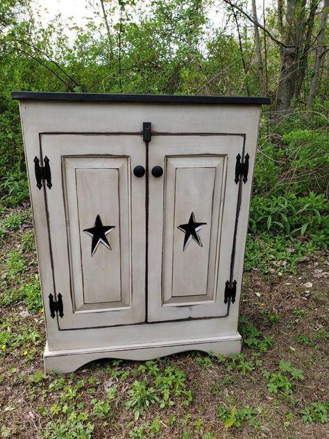 Primitive Cabinet Rustic Cabinet Star Door Distressed Cabinet Primitive Jelly Cabinet Rustic Cabinet With Images Rustic Cabinets Distressed Cabinets Primitive Cabinets