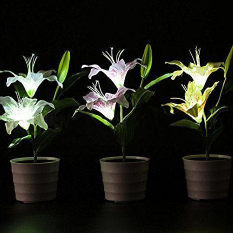 Lanlan Wasserdicht Pink Lily Blume Led Lampe Deko Topf Pflanze Lampe Solar Power Flower Lamp Flower Pots Lily Flower