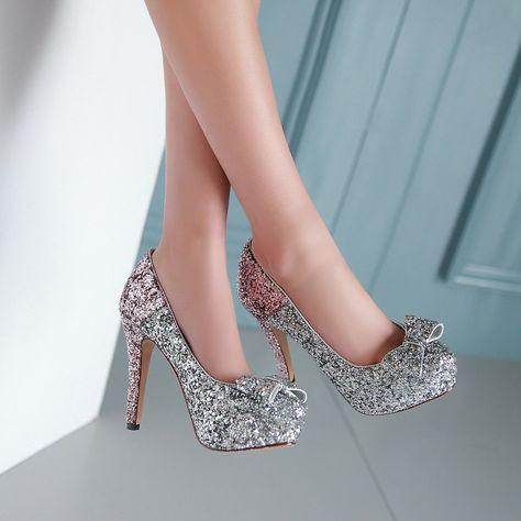 Glitter Women Pumps Platform Bowtie High Heels Wedding Shoes Woman