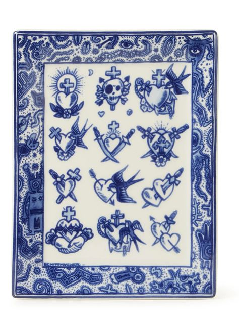 Royal Delft Schiffmacher Royal Blue Tattoo, Old School Collection bord 15 x 12 cm • Blauw • de Bijenkorf