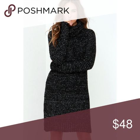 5c5ff21b303 Black Knit Speckled Sweater Dress Little Black Dress meets Winter in this  Sexy in the City inspired sweater dress featuring a subtle but sleek slit  on the ...