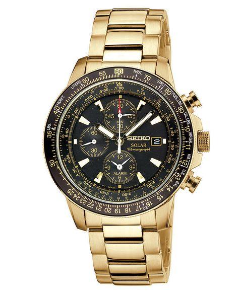 4d881366c Seiko Watch, Men's Chronograph Solar Aviator Gold-Tone Stainless Steel  Bracelet 43mm SSC008 -