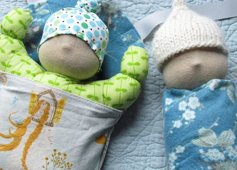 Waldorf baby doll pattern and swaddled doll pattern