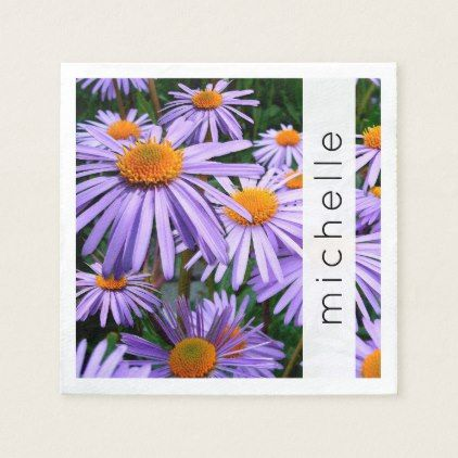 Your Name Aster Flowers Blossoms Purple Napkin Purple Floral Style Gifts Flower Flowers Diy Customize Unique Purple Floral Blossom Flower Floral