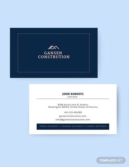 Construction Business Card Template Free Jpg Illustrator Word Apple Pages Psd Publisher Template Net Construction Business Cards Business Card Template Word Free Business Card Templates