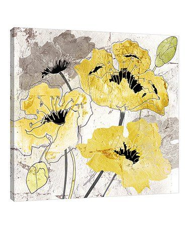 Another Great Find On Zulily Tre Sorelle Studios Yellow Silver Poppies Ii Wrapped Canvas Zulilyfinds Art Watercolor Flowers Paintings Graphic Art Print