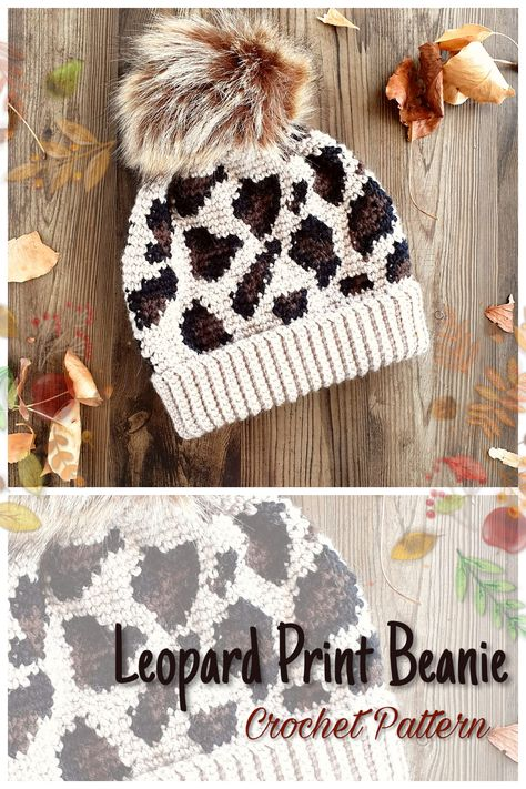Slouchy beanie with leopard print. Crochet is actually a task of making fabrics simply Knitting Projects, Crochet Projects, Knitting Patterns, Crochet Patterns, Diy Projects, Crochet Gifts, Crochet Baby, Crotchet, Slouch Beanie