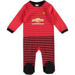 san francisco fb2bf e7467 Manchester United Home Kit Sleepsuit - Red/Black - Baby ...