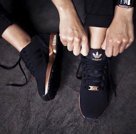 //ZX Flux Adidas Black / Copper / Metallic / Women's adidas #fashion #accessories #shoes