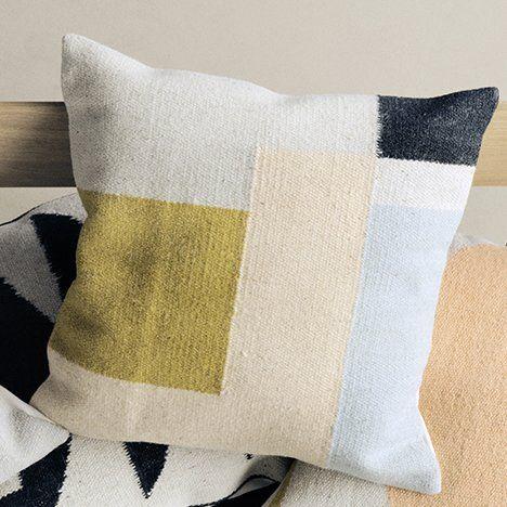 Ferm Living Kelim Square Wool Throw Pillow Pillows Modern Pillows Throw Pillows
