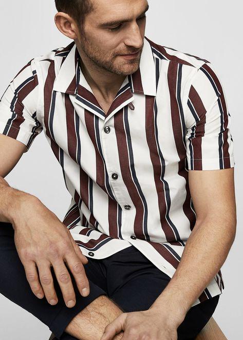Camisa regular-fit rayas algodón - Camisas de Hombre   MANGO Man España