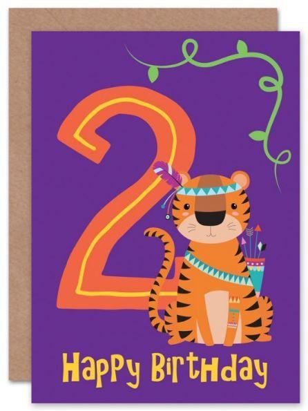 2 Kids Tiger Birthday Card Children S Card Birthday Card Animal Card Cat Card Greeting Card Weebluec Kids Birthday Cards 2nd Birthday Boys Birthday Cards