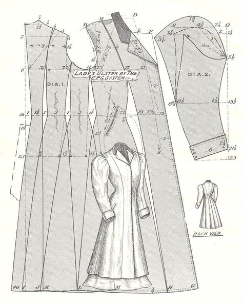 Pattern Diagram for Woman's Ulster Coat Pattern featured in The Cutter's Practical Guide: Ladies' Garments, c. 1900 With a few edits this is going to be my winter coat Costume Patterns, Coat Patterns, Clothing Patterns, Victorian Coat, Victorian Pattern, Historical Costume, Historical Clothing, Ulster Coat, Sewing Tips