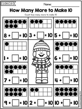 Winter Math Worksheets 1st Grade By United Teaching Teachers Pay Teachers Winter Math Activities Winter Math Winter Math Worksheets