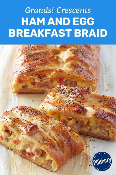 This beautiful crescent braid is easier than it looks! A simple folding technique over eggs, ham and creamy cheese gives you an impressive-looking breakfast dish that is guaranteed to be the star of your weekend brunch party.