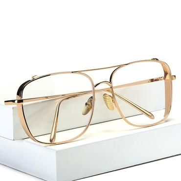 8b40265c2e Square Oversized Vintage Clear Lens Glasses Sunglasses Gold Frame Men Women  myopiamodkily