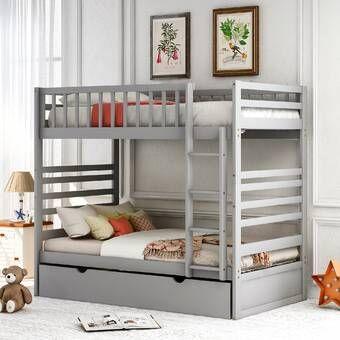 Efharis Twin Over Twin Low Loft Bed Bunk Bed With Trundle Solid Wood Bunk Beds Wood Bunk Beds Solid wood bunk beds twin over twin