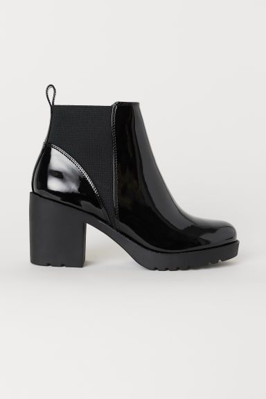boots, Black patent leather boots