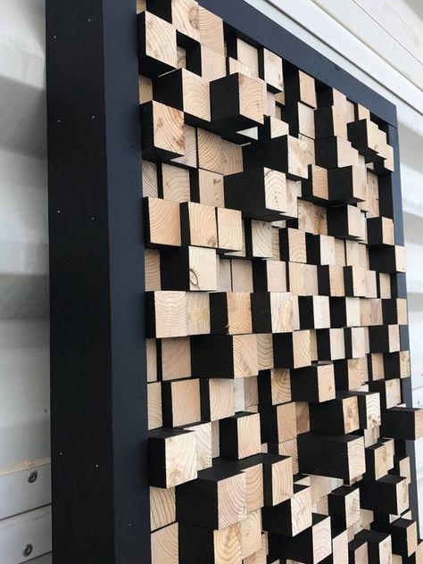 Atelier en bois, son diffuseur, panneau acoustique, insonorisation, preuve, Pixel, art, multi couleur bois art, art 3d, art en bois