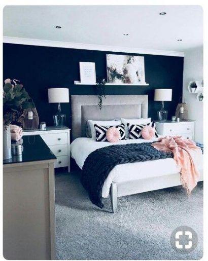 Painting Bedroom Walls Grey Headboards 29 Trendy Ideas In 2020 Dark Blue Bedrooms Blue Master Bedroom Blue And Pink Bedroom