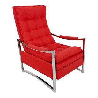 Mid Century Modern Baughman Curved Chrome Red Recliner Chair Robert Allen Wool Koltuklar