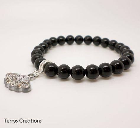 Handmade Black Pearl Stretch Bracelet With Silver Rhinestone Fan Charm & Bail