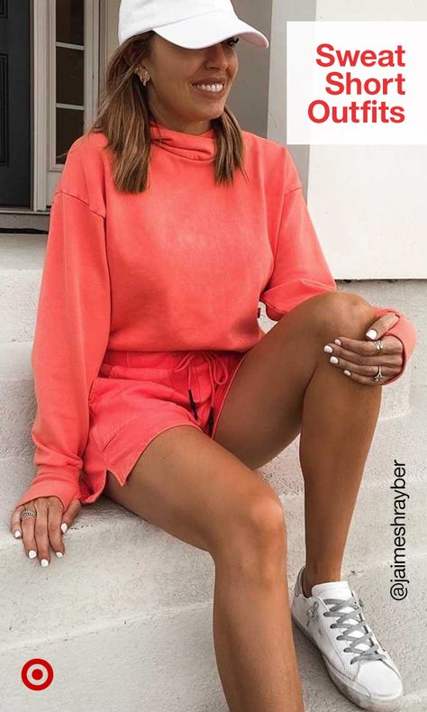 Simplify summer dressing with matching sweat short outfits. Cute sweatpants in trendy hues work great for school, WFH or all-day lounging.