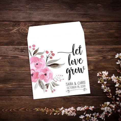 Seed Favor, Seed Packets, Pink Flowers, Custom #seedfavor #seedpackets #custom #weddingfavor #pinkflowers #personalizedfavor #seedpacketfavor #letlovegrowfavor #seedweddingfavor #bridalshowerfavor #seedenvelopes #customseedpackets #pinkwedding
