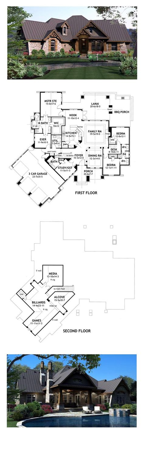 Craftsman House Plan 65869 | Total Living Area: 2847 sq. ft., 3 bedrooms and 3 bathrooms. #houseplan #craftsmanhome: