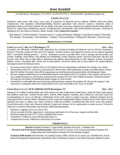 Credit Analyst Resume Business Analyst Resume Job Resume Samples Resume Summary Examples