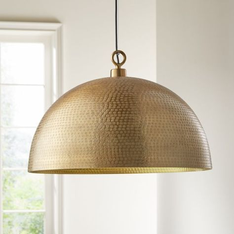 Rodan Hammered Brass Metal Dome Pendant Light at Crate and Barrel Canada. Discover unique furniture and decor from across the globe to create a look you love. Decor, Dome Pendant Lamps, Crate And Barrel, Brass Metal, Lights, Brass Lighting, Light Table, Dome Pendant Lighting, Room Lights