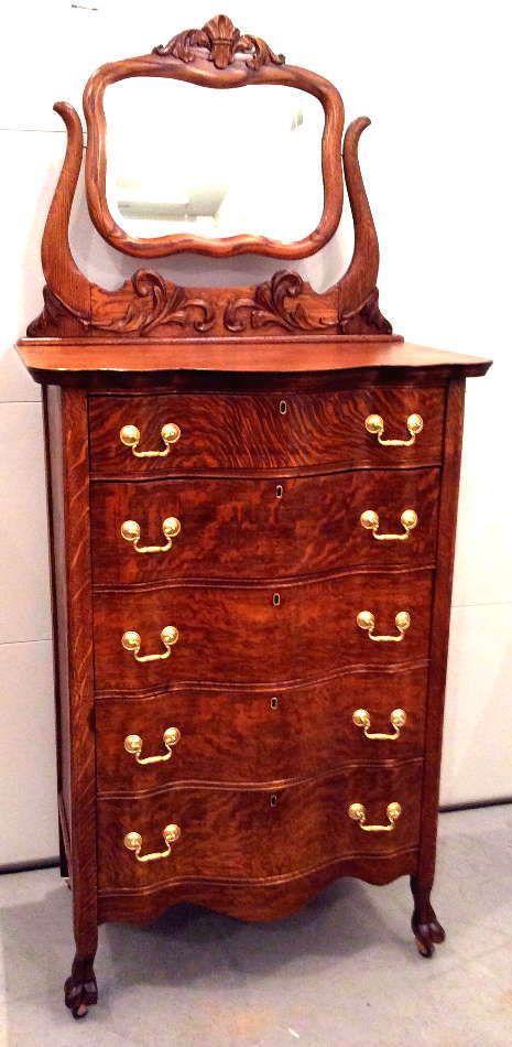 Antique Oak Highboy Chest Of Drawers Dresser