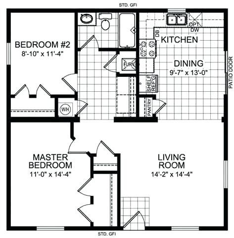 20 X 30 Cabin Plans 1 Bedroom X House Floor Plans Guest House Plans Tiny House Floor Plans Small House Plans