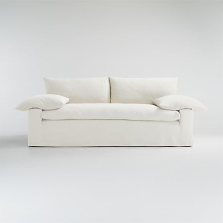 Ever Slipcovered Sofa Reviews Crate And Barrel In 2020 Slipcovered Sofa Sofa White Linen Sofa