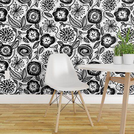 Peel And Stick Removable Wallpaper Floral Black White Flower Folk Art Block Walmart Com Removable Wallpaper Floral Wallpaper Drawer And Shelf Liners
