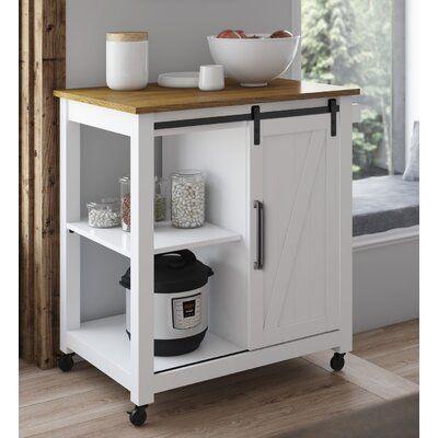 Gracie Oaks Dionisio Rolling Kitchen Cart Base Finish White