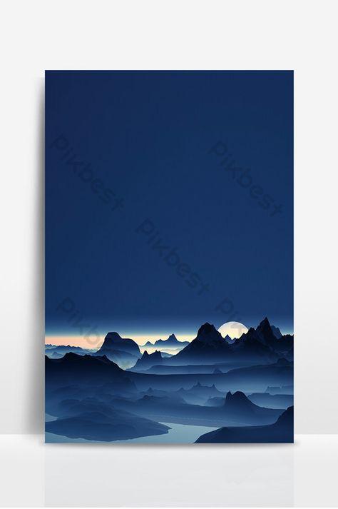 تصميم خلفية ملصق المناظر الطبيعية الزرقاء خلفيات Psd تحميل مجاني Pikbest Poster Background Design Landscape Poster Background Design