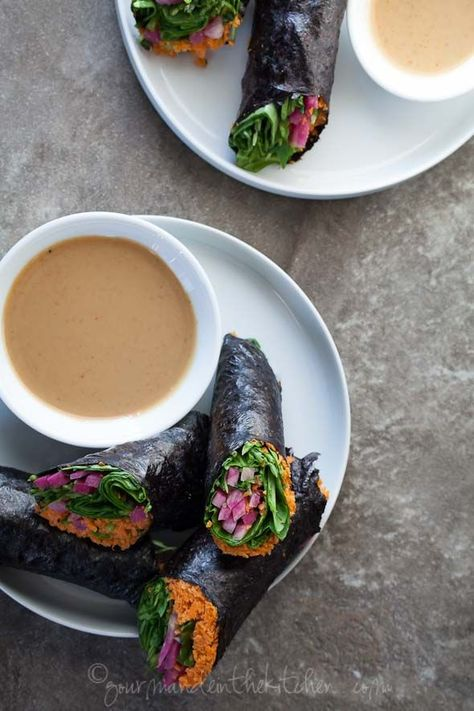 Raw Vegetable Nori Rolls or Wraps with Sunflower Seed Butter Dipping Sauce (Raw, Vegan, Grain-Free, Paleo) | gourmandeinthekitchen.com