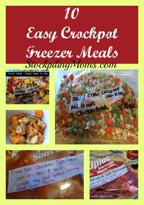 10 freezable meals: chicken with apple and sweet potato, french dip sandwiches, chicken cacciatore, veggies in a bag, bean stew, chicken sweet potato stew, taco soup, ham green beans and potatoes, butternut squash soup, chuck roast