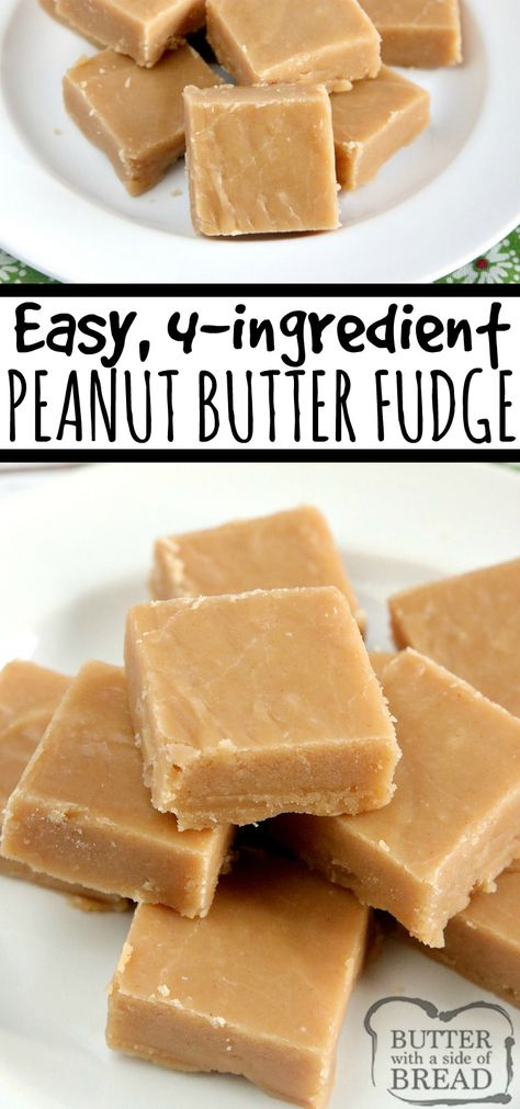 peanut butter desserts Easy Peanut Butter Fudge is made with only 4 ingredients, no candy thermometer needed! This easy fudge recipe is made with peanut butter, sugar, milk and vanilla extract- thats it! Microwave Peanut Butter Fudge, Peanut Butter Dessert Recipes, Peanut Butter Candy, Chocolate Peanut Butter Fudge, Peanut Recipes, Easy Peanut Butter Balls, Homemade Peanut Butter Fudge Recipe, Chocolate Fudge Recipes, Vanilla Fudge Recipes