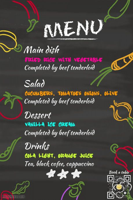 Fresh food restaurant menu template - Chalkboard background http - sample drink menu template
