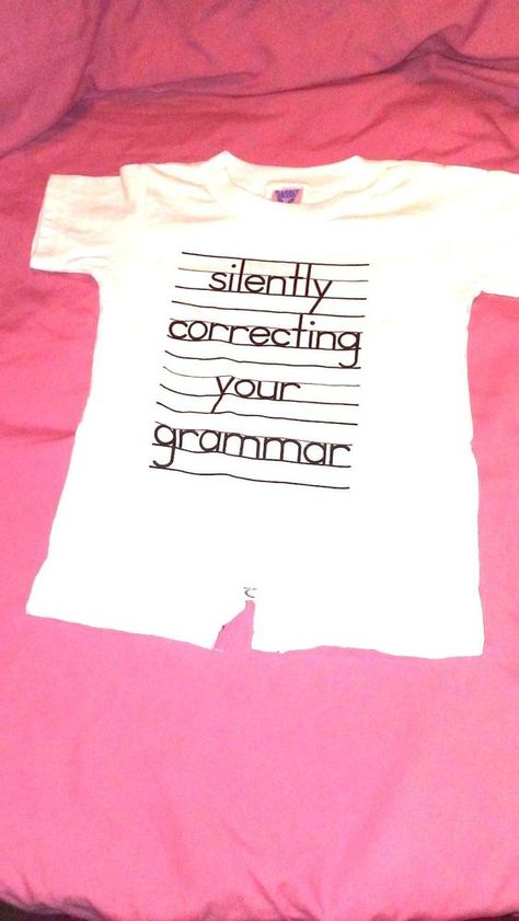 Crazy Dog TShirts - Baby Silently Correcting Your Grammar Funny - lined paper with picture