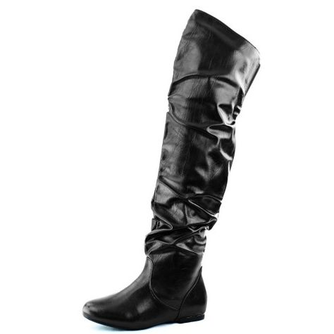 fb7fba426645 DailyShoes Women's Fashion-Hi Over-the-Knee Thigh High Flat Slouchly Shaft  Low Heel Boots: Shoes