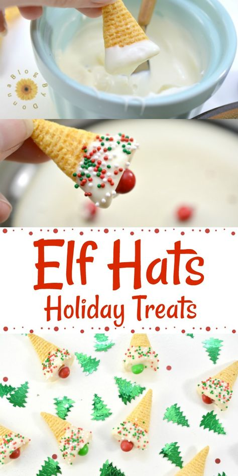 Elf Hats Holiday Treats - Easy, fun, holday treat for Christmas. Great for school parties Elf Hats Holiday Treats - Easy, fun, holday treat for Christmas. Great for school parties Easy Christmas Treats, Christmas Deserts, Holiday Snacks, Christmas Party Food, Christmas Cooking, Christmas Goodies, Christmas Christmas, Easy Christmas Recipes, Christmas Pretzels